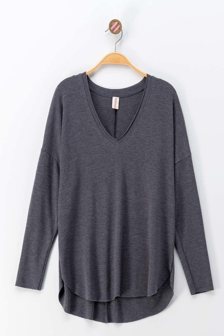 Everyday Comfy Long Sleeve Top Raw Hem Around the V Neck.