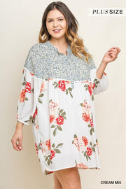 Floral Mixed Print Long Puff Sleeve Button Neckline Dress with Pockets