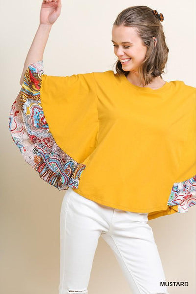 Paisley Print Oversized Ruffle Bell Sleeve Solid Body Top