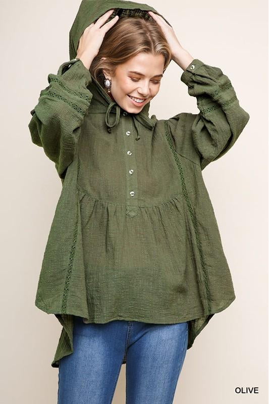 Be Thoughtful Top, Olive, Puff Sleeves, Hooded, Babydoll, Boho Pretty