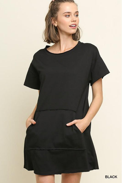 Short Sleeve Round Neck Kangaroo Pocket Dress with Raw Hems
