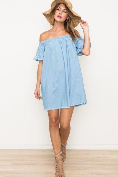 TENCEL, RUFFLE DETAIL OFF SHOULDER DRESS 65% COTTON 35% POLYESTER