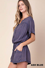 Washed with Yoke Shirring Romper  100% Rayon  Each piece is one-of-a-kind and will vary due to the dyeing process.