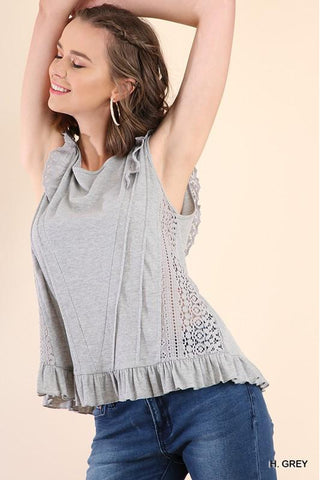 Ruffled Lace Ribbed Top