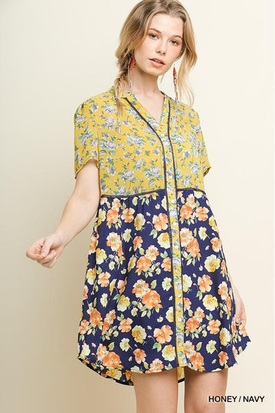 Multi-Floral Mixed Print Sheer Short Sleeve Button Front Mandarin Collared Dress with Crochet Detail