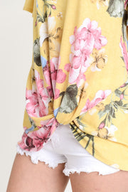 Escape The Ordinary Top, Floral, Ruffles, Yellow, Twist Knot, Fashion, Trendy