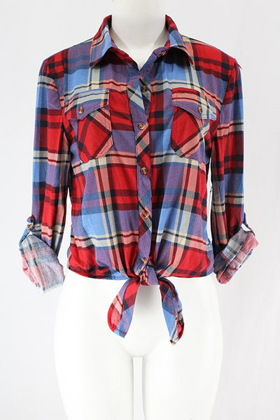 Fun In Plaid Top, Front Tie, Fall Fashion, Trendy, Boho Pretty