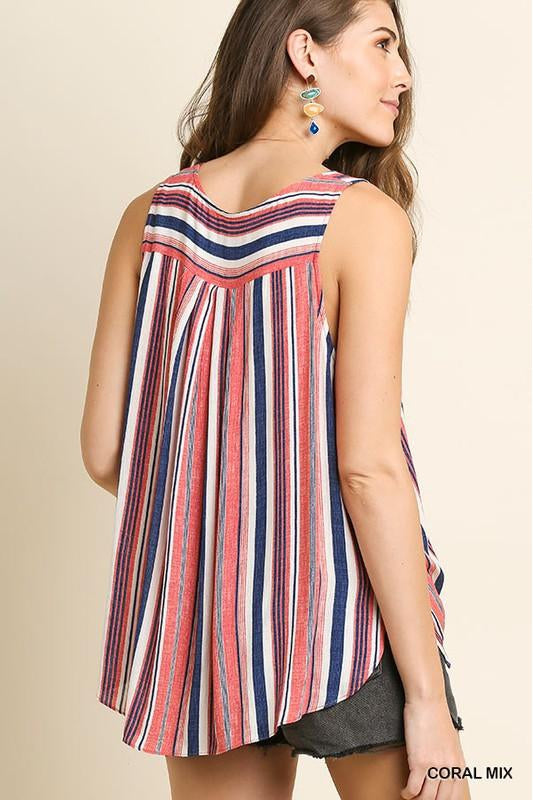 Striped sleeveless round neck top with a pin tuck high low hem and side slits