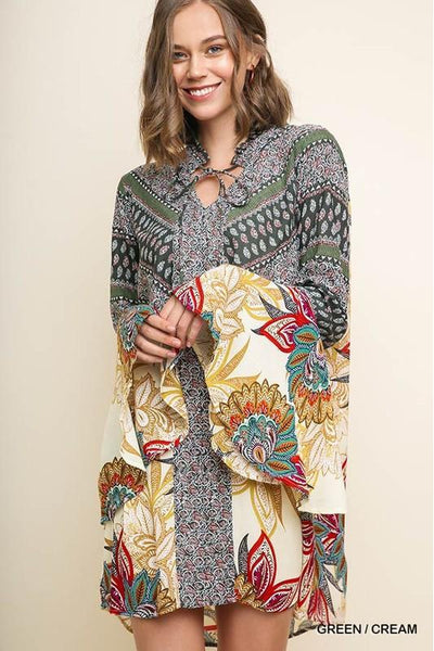 Forever Thankful Dress, Paisley Print, Bell Sleeves, Trendy, Boho Pretty