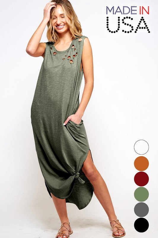 Tank Top Maxi Dress with side slits and distress on shoulders.
