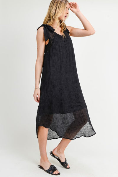 LACE TIE SHOULDER STRAP DIPPED HEM MIDI  SELF:80%COTTON,20%NYLON CONT:CONT:65%COTTON,35%NYLON  LINING:100%POLYESTER