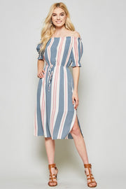 Beautiful striped midi dress with off the shoulder bodice. Easy elastic on the waist to gather the best fit of your body! Slit, lined, woven.