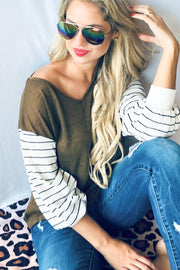Stripe Bell Sleeve V Neck Casual Top.