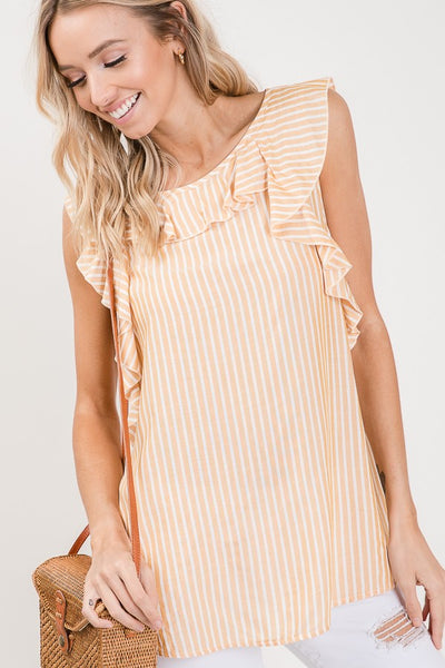 Dressy pullover sleeveless top with ruffle designs, striped rayon woven fabric for a more modern look relaxed fit with the keyhole and tie in the back.