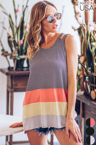Sleeveless Striped Color Block Shoulder Slit Top - Stretch, Striped Jersey Knit Fabric - Contrast 3-Color Block Hem - Cutout Shoulder Slit Detail - Round Neckline - Relaxed Fit
