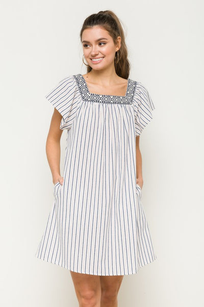 Square Neck Flutter Sleeve Stripe Dress  80% Cotton 20% Polyester