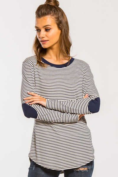 Stripe Elbow Patch Long Sleeve Tunic Top Round Neck Long Sleeve Relax Fit.