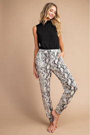 Snake Print Pull-On Style Jogger Pants with Side Pocket.