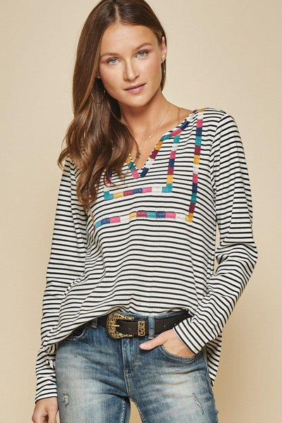 Striped Knit Top With Color-Block Vibe Embroidery All Over The Front, Slight V Neckline With Long Sleeve. Lightweight , Brushed, Non-Sheer