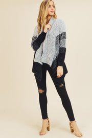 COLOR BLOCK GRADATION SWEATER CARDIGAN.  SELF:65%ACRYLIC,35%POLYESTER