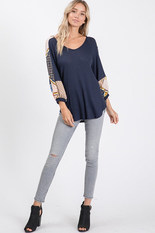 Multi Floral Stripe Sleeve Top. Lightweight Navy Waffle Material.