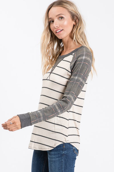 Plaid Raglan Sleeve Top.