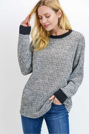 Tweed Black Texture Top with A Loose Fit Round Neck Top.  Very Comfortable. Great for layering this Fall & Winter!