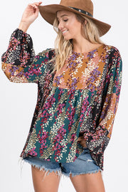Wildflower multi floral boho boutique top