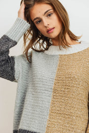 Not Your Average Colorblock Sweater Neutral Color Tones.  Colorblock Long Sleeve Sweater Knit Top Loose Fit Round Neck.