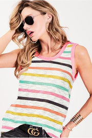 SLEEVELESS MULTI COLOR STRIPE PRINT TERRY TOP WITH CONTRAST BAND Fabric 87% POLY 10% RAYON 3% SPAN Made in MADE IN USA bibi boho pretty boutique style summer tank top