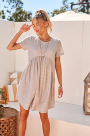 Knit Swiss Dot Gray Dress