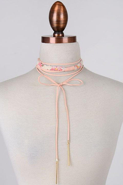 Pink Tie Choker Necklace