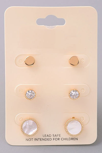 Button Up Earring Set