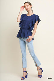 Short Ruffle Sleeve Tonal Embroidered Key Hole Top with Ruffle Hem.