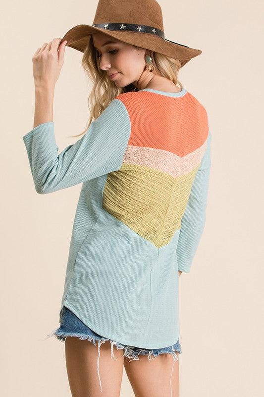 Solid Knit Fabric Color Block Top With Three Quarter Sleeve And Round Neck and Hemline, Three Knit Fabric Back and Shoulder Contrast Detail. boho pretty boutique