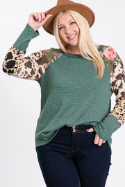 Country Vibes With This Top Floral,Cow and Leopard Mixed Print.