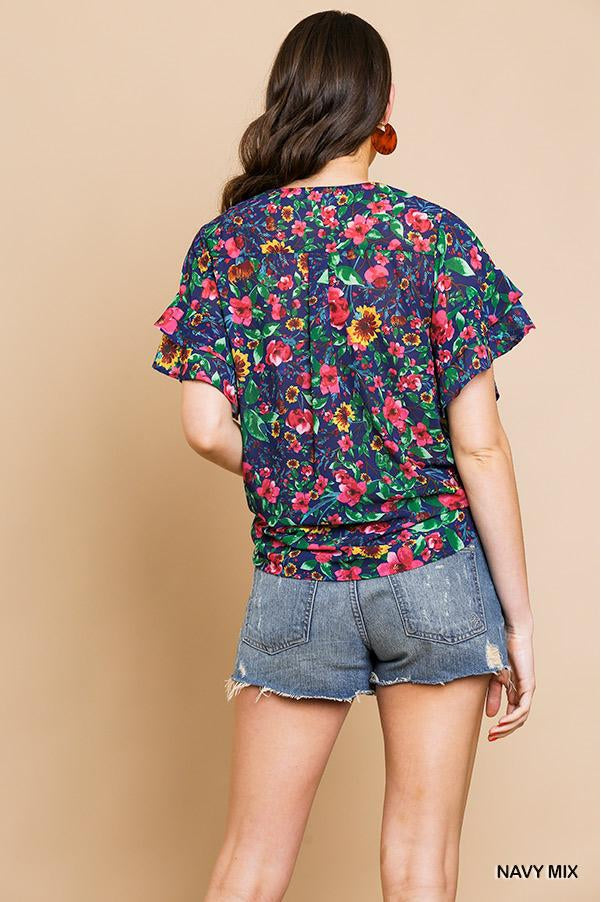 Sheer Floral Layered Ruffle Short Sleeve V-Neck Top With Center Knot Tie.