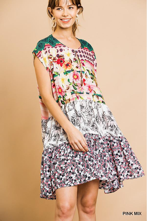 Mixed Print Short Sleeve Round Neck Keyhole Dress with Ruffle Trim.