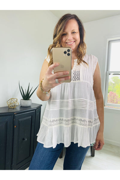 Sweet Bliss Ivory Sleeveless Top