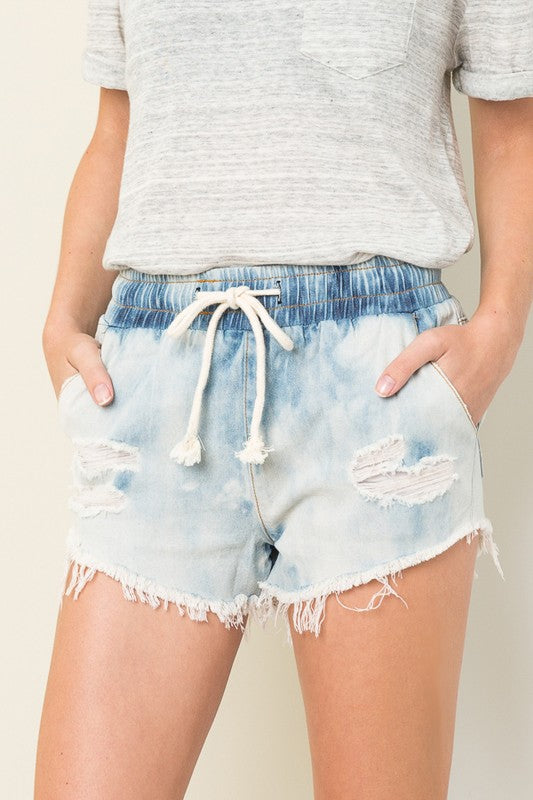 Bleached Denim Shorts, Acid Wash, Drawstring Waist, Boho Pretty, Trendy