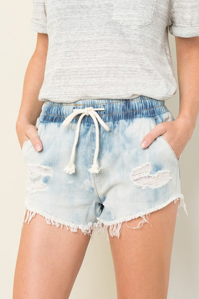 Bleached Denim Shorts - bohopretty.com