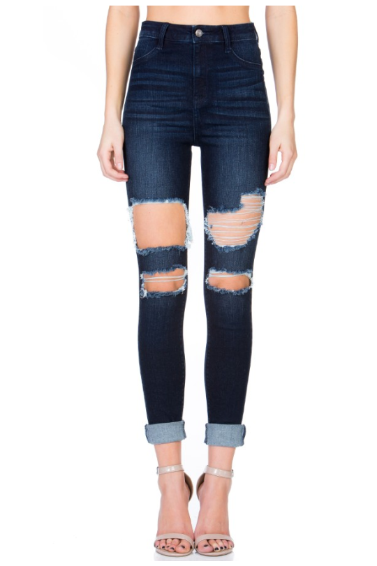 High Rise Distressed Cello Skinny