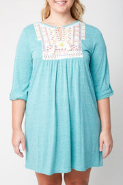 Stand Tall Top, Embroidery, Cuffed Sleeves, Emerald, Plus Size, Boho Pretty