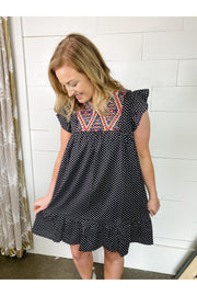 black and white polka dot ruffle flutter embroidered dress boutique womens clothing boho pretty