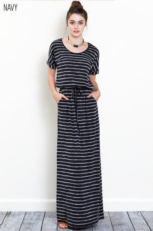 Stripes All Day Short Sleeve Maxi Dress