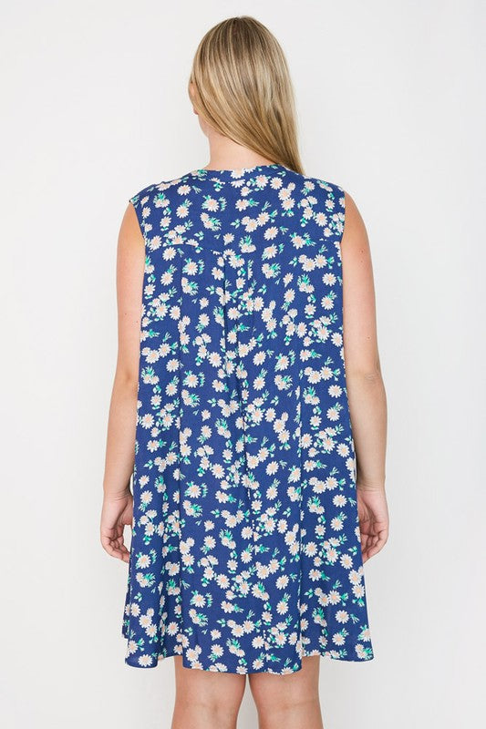 Day Trip Dress, Floral, Plus Size, Indigo, Fashion, Boho Pretty