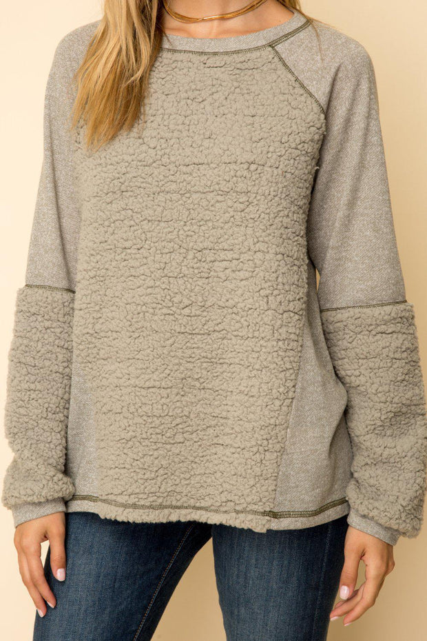 Super Soft and Cozy Washed Olive Pullover.   Great for Everyday in the Colder Months  Half Fur Top