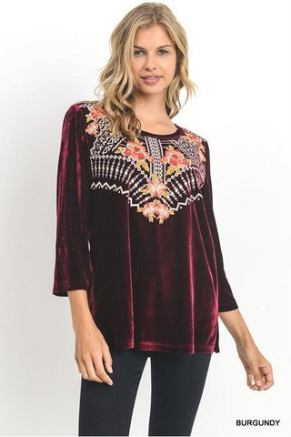 Embroidery Has My Heart Top - Burgundy