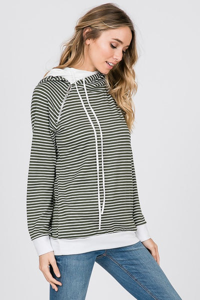 Stripe Side Zip Hooded Sweatshirt.