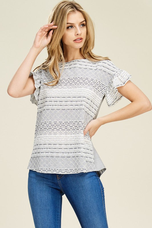 Be Amazing Striped Ruffle Sleeve Top